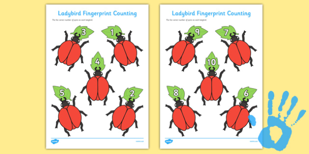 Ladybird Fingerprint Counting Activity Sheet Pack to Support Teaching on The Bad Tempered Ladybird - EYFS activities, number, EAD, minibeasts, insects, worksheet