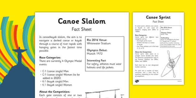 Rio 2016 Olympics Canoeing Fact Sheet - rio 2016, 2016 olympics, rio olympics, canoeing, fact sheet