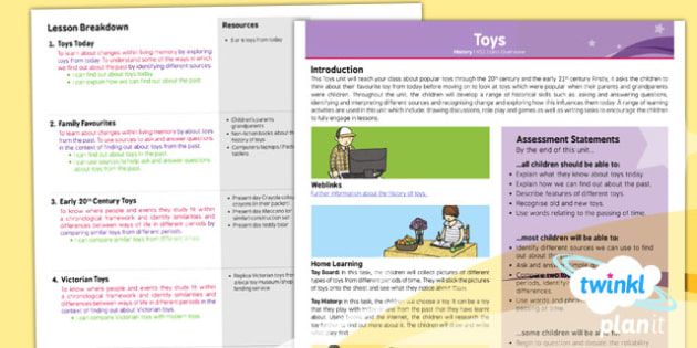 PlanIt - History KS1 - Toys Planning Overview - history, toys