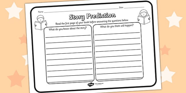 Story Prediction Reading Comprehension Worksheet - story predicition, comprehension, comprehension worksheet, character, discussion prompt, reading, discussions