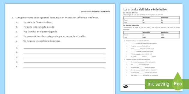 Definite and Indefinite Articles Activity Sheet - Spanish Grammar, articles, definite, indefinite, activity sheet