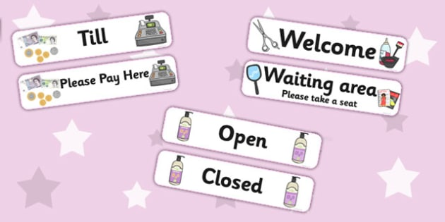 Hairdressers Role Play Signs - Hairdresser Role Play, salon role play, hairdresser resources, salon resources, hairdryer, hairdresser, stylist, customer, hairstyle, role play, display, poster