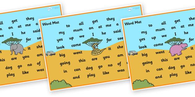 Safari Themed Word Mat FS3 - safari, on safari, safari word mat, safari themed word mat, safari FS3 word mat, high frequency words, safari FS3 words