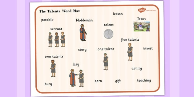 The Talents Word Mat - talents, parables, christianity, word mat