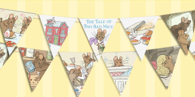 The Tale of Two Bad Mice Bunting - two bad mice, bunting, display
