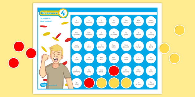 Connect 4 Perfect Tense Self-Checking Board Game French