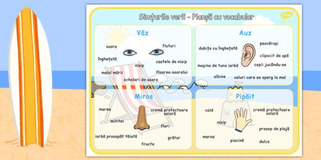 Simturile verii, Plansa cu vocabular - cele cinci simturi