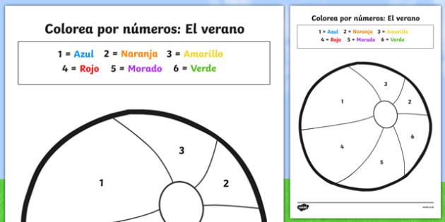 Colorea por números: El verano Summer-Themed Colour by Number Spanish - seasons, counting aid, numbers, numbes, countng, couting, seaons, coloyur by number, nubers, coutning, summertime, Timw