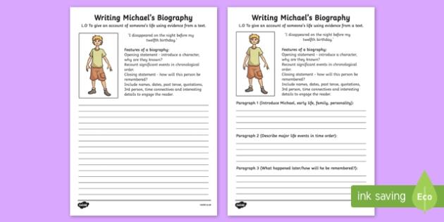 Kensuke's Kingdom Michael Biography Writing Frame - writing aid