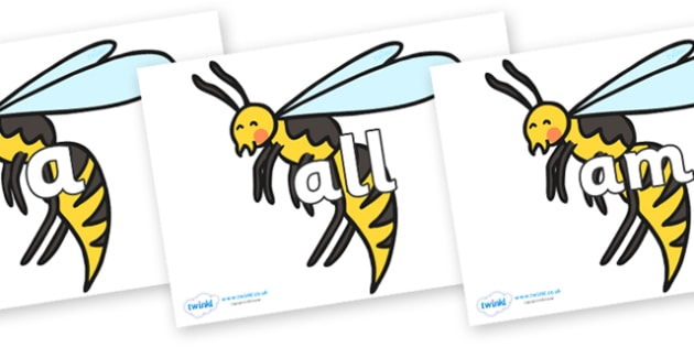 Foundation Stage 2 Keywords on Wasps - FS2, CLL, keywords, Communication language and literacy,  Display, Key words, high frequency words, foundation stage literacy, DfES Letters and Sounds, Letters and Sounds, spelling