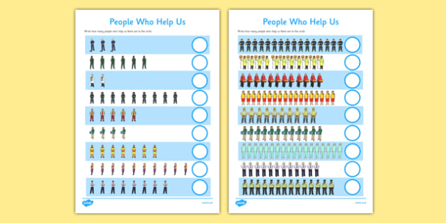 People Who Help Us Counting Worksheet up to 20 - people who help us, counting, worksheet, 20