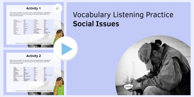 Social Issues Vocabulary Listening Practice PowerPoint - French