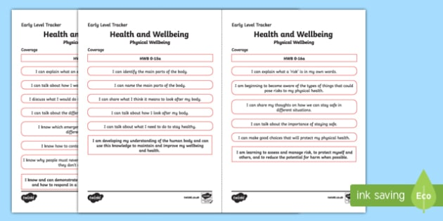 CfE Health and Wellbeing (Physical Wellbeing) Early Level Child-Friendly Tracking