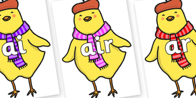 Phase 3 Phonemes on Chicken Licken - Phonemes, phoneme, Phase 3, Phase three, Foundation, Literacy, Letters and Sounds, DfES, display