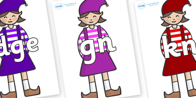 Silent Letters on Elf (Girl) - Silent Letters, silent letter, letter blend, consonant, consonants, digraph, trigraph, A-Z letters, literacy, alphabet, letters, alternative sounds
