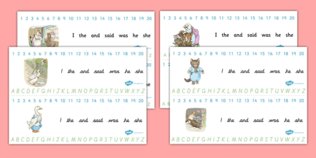 Beatrix Potter - The Tale of Tom Kitten Combined Number and Alphabet Strips - beatrix potter, tom kitten