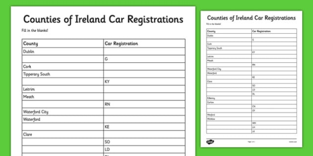 Counties of Ireland Car Registrations Fill in the Blanks Activity - counties, ireland, car registrations