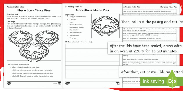 Marvellous Mince Pies Activity Sheet - Amazing Fact Of The Day, activity sheets, PowerPoint, starter, morning activity, December, Christmas