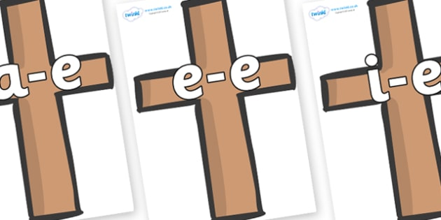 Modifying E Letters on Crosses - Modifying E, letters, modify, Phase 5, Phase five, alternative spellings for phonemes, DfES letters and Sounds