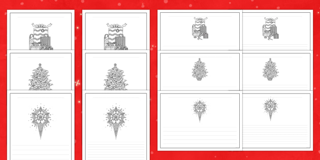 Christmas Mindfulness Colouring Writing Frames Pack - Priority Resources, mindfulness, stars, christmas tree, presents, wet playtime, colouring