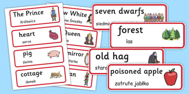 Snow White and the Seven Dwarfs Word Cards Polish Translation - polish, snow white, seven dwarfs, word cards