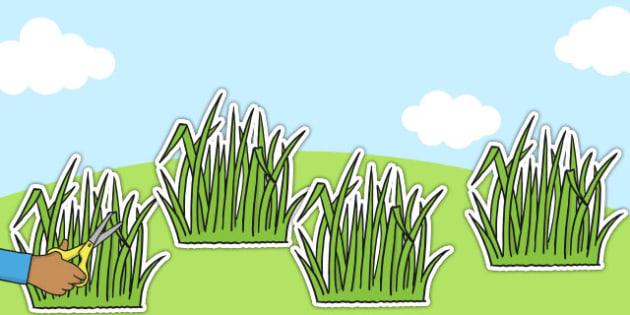 Cut-out Green Grass - shapes, grass, plants, landscape, image