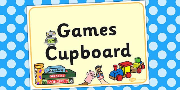 Games Cupboard Display Sign - display, sign, games, cupboard