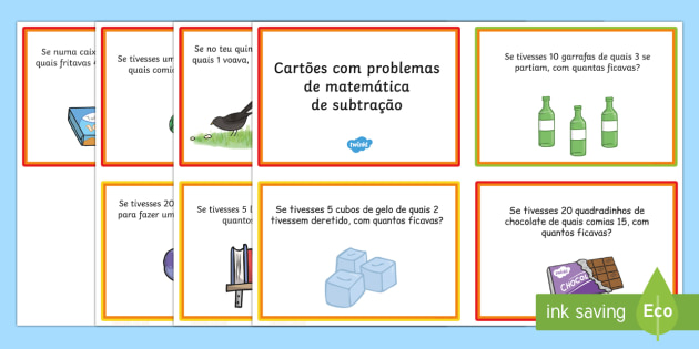 Cartões com problemas de matematica de subtração - matematica, subtração, subtrações, somas, problemas matematicas , actividades, matematcia divert