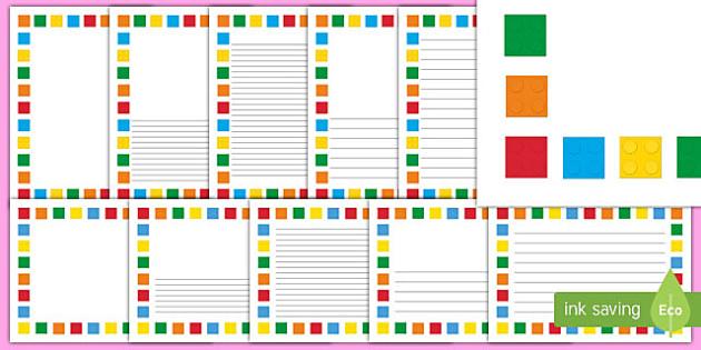 Building Brick Themed Page Borders - building bricks, toys, borders, writing aid