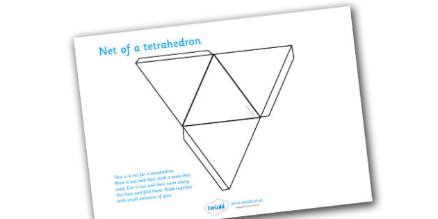 Net Of A Tetrahedron - net, tetrahedron, platonic solids, activity, building, creative