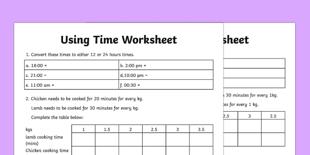Using Time Activity Sheet - using time, time worksheet, time, numeracy, converting time, time table, clock, maths, numbers worksheet, minutes, hours