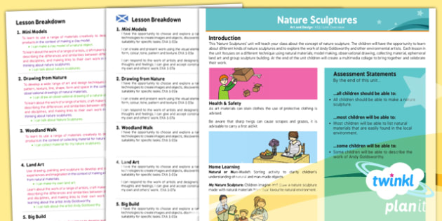 PlanIt Art KS1 Nature Sculptures Planning Overview CfE - scottish, art, history, Famous artists, colour, displays, resources, planning, topic, natural, outdoors