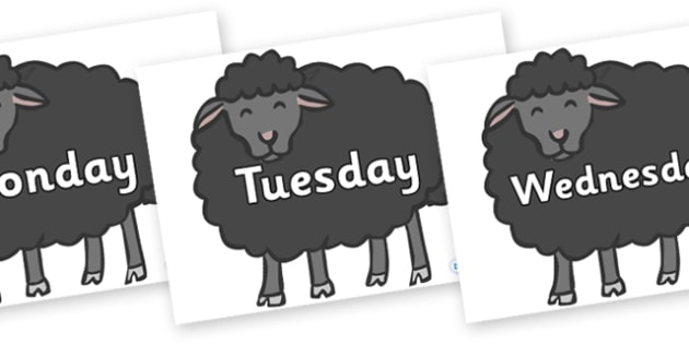 Days of the Week on Baa Baa Black Sheep - Days of the Week, Weeks poster, week, display, poster, frieze, Days, Day, Monday, Tuesday, Wednesday, Thursday, Friday, Saturday, Sunday