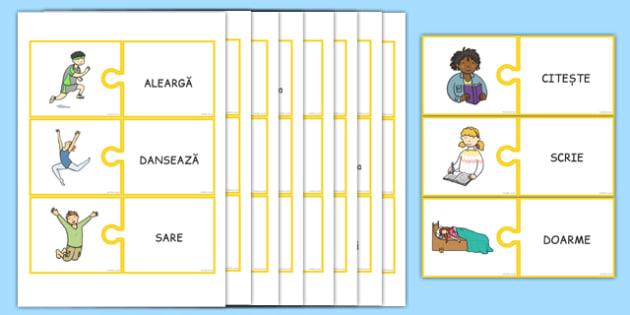 Verbe, Puzzle cu imagini și cuvinte