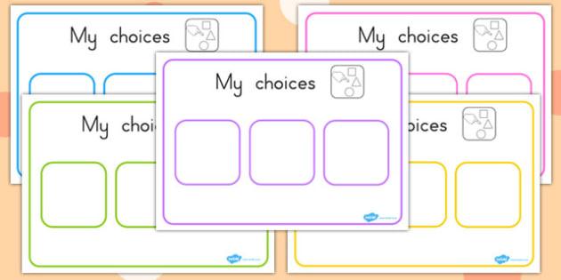 Choice Board - SEN, relationships, discussion, communication, support, australia, ks1, ks2,