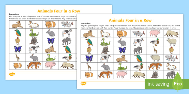Four in a Row (Animals) Game French - French Games, french animals, french activities, connect four, french connect four, four in a row, c