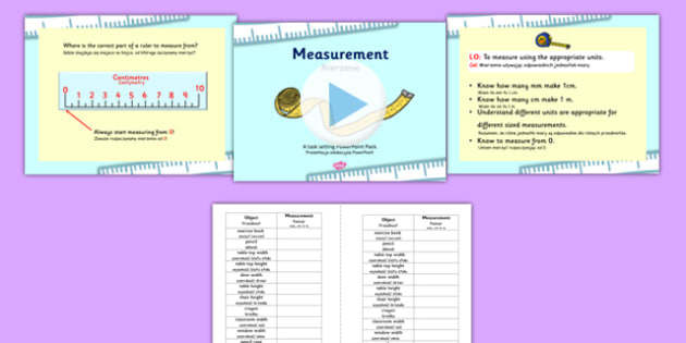 Measurements Appropriate Measures PowerPoint with Worksheets Polish Translation - polish, measurements, powerpoint, measurements powerpoint, worksheets, measurement worksheets, maths