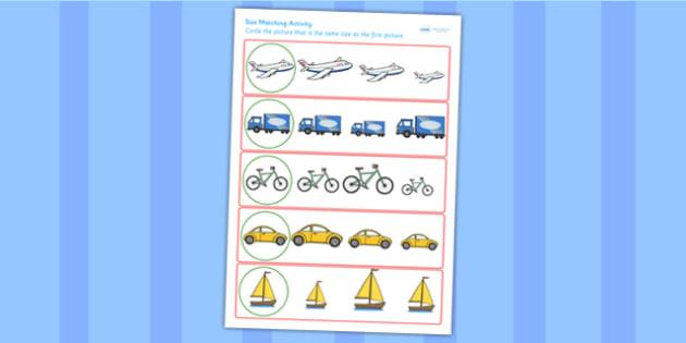Transport Size Matching Worksheet - transport, size, match, order