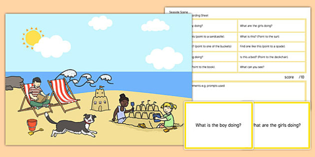 Seaside Scene Blanks Level 1 Questions - receptive language, expressive language, verbal reasoning, language delay, language disorder, comprehension, autism