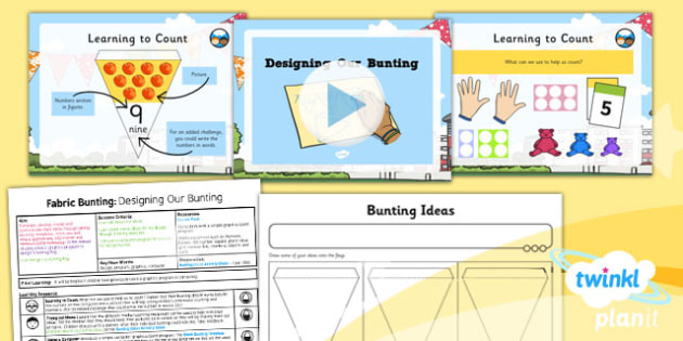 PlanIt - DT KS1 - Fabric Bunting Lesson 2: Designing Our Bunting Lesson Pack