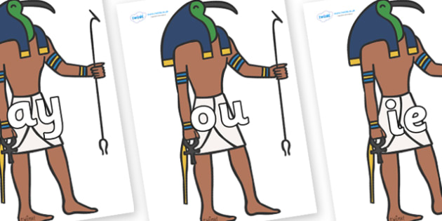 Phase 5 Phonemes on Egyptian Gods - Phonemes, phoneme, Phase 5, Phase five, Foundation, Literacy, Letters and Sounds, DfES, display