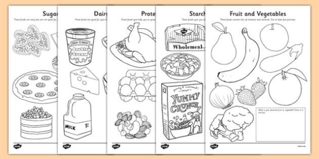 Healthy Eating Colouring Sheets - healthy eating, food groups, healthy menu