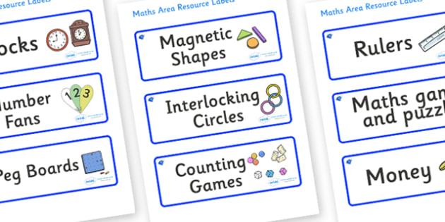 Sapphire Themed Editable Maths Area Resource Labels - Themed maths resource labels, maths area resources, Label template, Resource Label, Name Labels, Editable Labels, Drawer Labels, KS1 Labels, Foundation Labels, Foundation Stage Labels, Teaching La