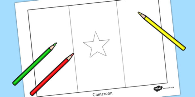 Cameroon Flag Colouring Sheet - countries, geography, flags
