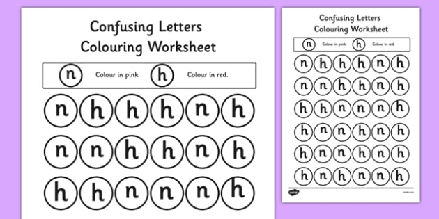 Confusing Letters Colouring Worksheets H and N - confusing letters, colouring, worksheets, h and n