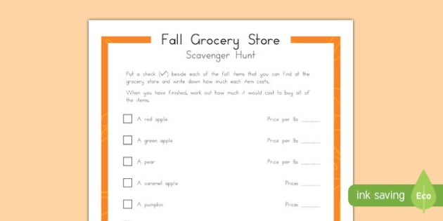 Fall Grocery Store Scavenger Hunt for Grade-schoolers Activity