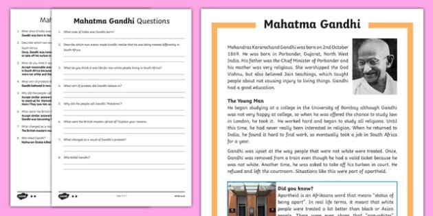 Gandhi Differentiated Reading Comprehension Activity