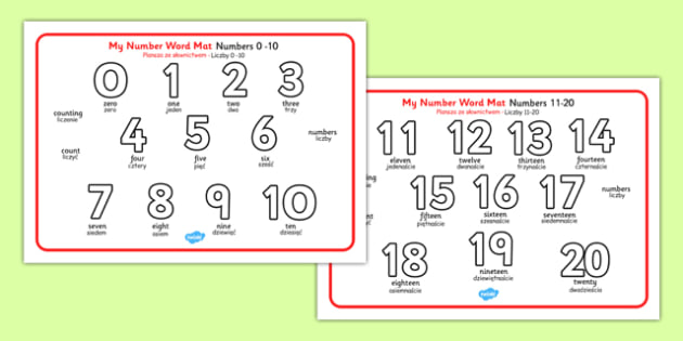 Numbers and Words 0-20 Word Mat Polish Translation - polish, numbers, words, 0-20, word mat
