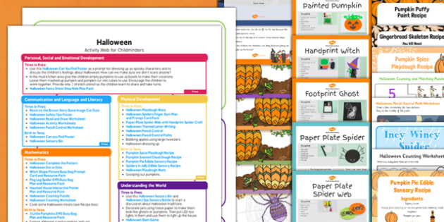 Halloween Activity Web and Resource Pack for Childminders - halloween, activity, web, resource pack, childminders