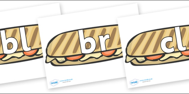 Initial Letter Blends on Paninis - Initial Letters, initial letter, letter blend, letter blends, consonant, consonants, digraph, trigraph, literacy, alphabet, letters, foundation stage literacy